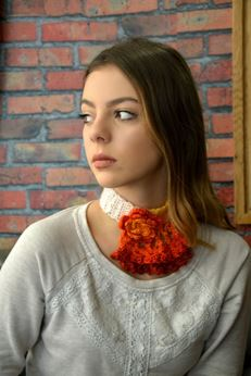 Picture of Crochet Choker in Variegating Yellow to Red