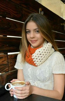 Picture of Candy Crush Scarf in Off White and Orange