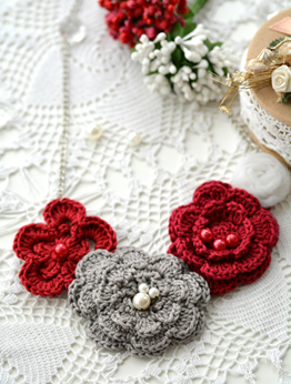 Picture of Grey & Red Roses Necklace