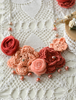 Picture of Deep Coral Red and & Peach Flower Necklace