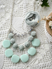 Picture of Mint Bead Roses Necklace
