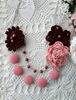Picture of Pink & Burgundy Flower & Bead  Necklace