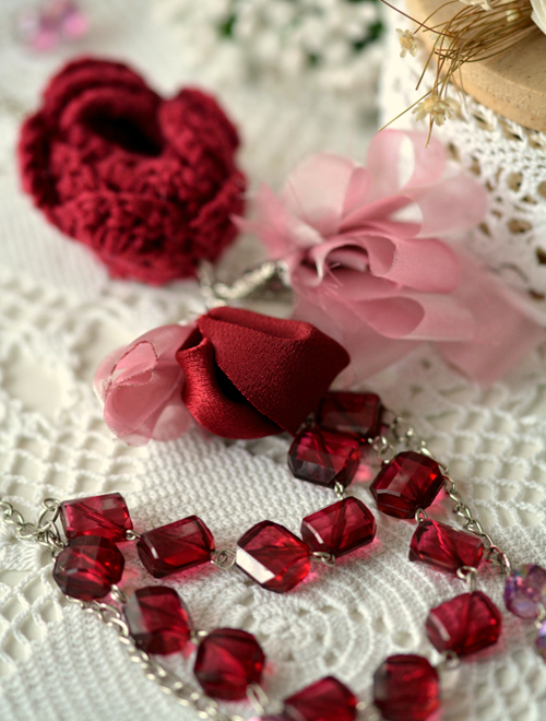 Picture of Burgundy & Lilac Bead Necklace