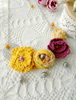Picture of Yellow Purple Crochet & Fabric Rose Necklace