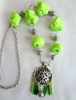 Picture of Neon Green Gypsy Necklace with handmade polymer jewels and beads