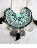 Picture of Crocheted Bohemian Bib Necklace with Tassels and Coins
