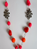 Picture of Orange, Red & Pink Gypsy Necklace with handmade polymer jewels and beads