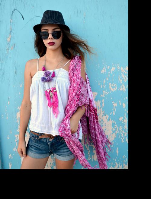 Picture of Pink & Purple Tassel & Fringe  Necklace