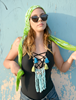 Picture of Tassel & Fringe  Necklace in Blue & Green