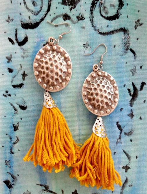 Picture of Tassel Boho Earrings in Mustard