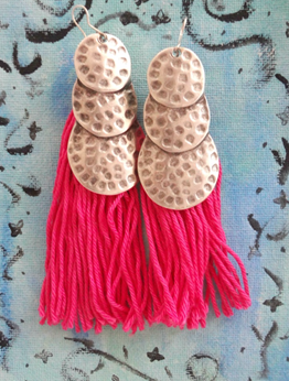 Picture of Tassel Boho Earrings in Pink