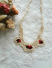 Picture of An Ecru Coral Red and Burgundy Crochet Necklace