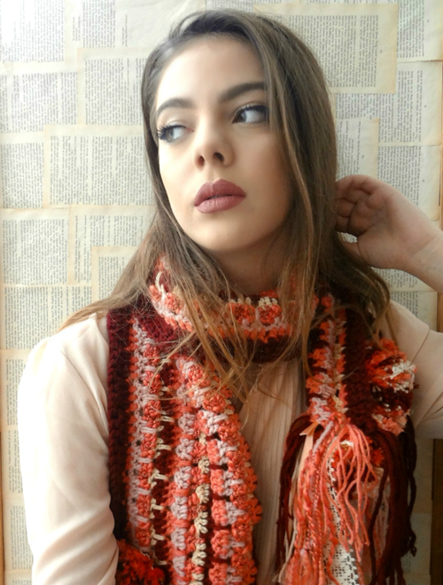 Picture of Bohemian Crochet Scarf in Coral Red