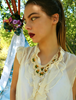 Picture of An Ocru  & Green Oya Necklace - Peacock Feathers