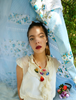 Picture of An Ecru Colorful Oya Flower Necklace