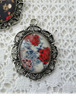 Picture of Cabochon Pendant Necklace: Blue & Red Roses