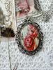 Picture of Cabochon Pendant Necklace: Red Lush Roses