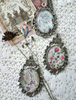 Picture of Cabochon Pendant Necklace: Pink Roses