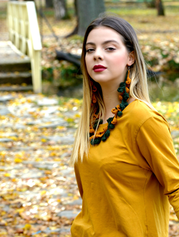 Picture of Foliage - crochet necklace and earrings