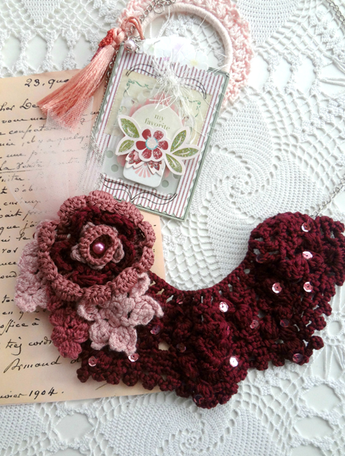 Picture of Burgundy Roses Bib Necklace